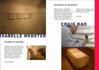 Catalogue Page for artists Isabelle Webster and Craig Kao in 'Onsite'