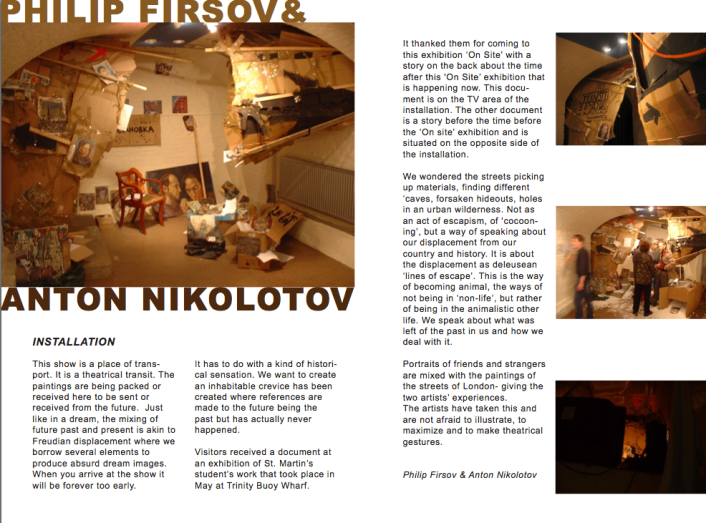 Catalogue Page documenting installation by Philip Firsov & Anton Nikolotov