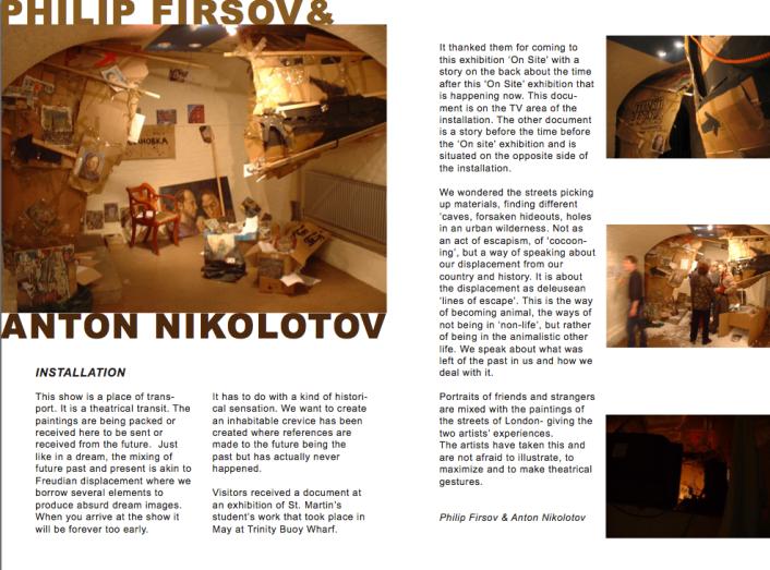 Catalogue Page documenting installation by Philip Firsov & Anton Nikolotov