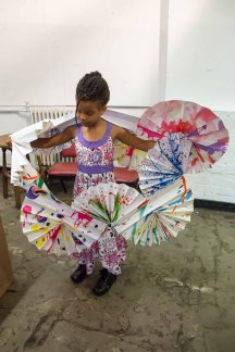 Some kids created fashions in the Sculpture Playhouse