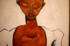 Detail of: Thom Ogonga 'Employee of the Month' Acrylics, Charcoal, MDF board