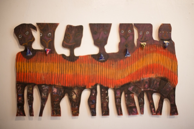 John Kamicha 'Boys wa makali' Mixed Media / Ply Wood